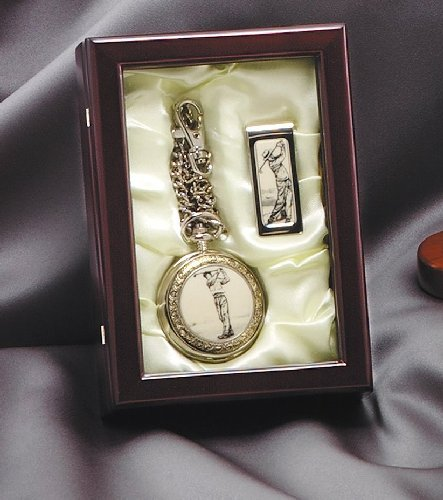 Golf Pocket Watch and Money Clip in Display Case